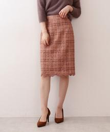 PROPORTION BODY DRESSING(プロポーションボディドレッシング)のチェックフロッキーレースタイトスカート(スカート)
