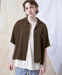 ブライトポプリンリラックスオープンカラーシャツ Poplin Open Collar Shirt(1/2 Sleeve)ダークブラウン