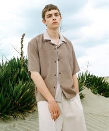 ブライトポプリンリラックスオープンカラーシャツ Poplin Open Collar Shirt(1/2 Sleeve)ベージュ