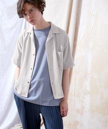 ブライトポプリンリラックスオープンカラーシャツ Poplin Open Collar Shirt(1/2 Sleeve)グレー系その他