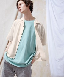 ブライトポプリンリラックスオープンカラーシャツ Poplin Open Collar Shirt(1/2 Sleeve)ベージュ系その他
