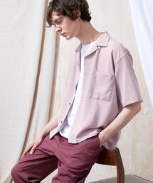 ブライトポプリンリラックスオープンカラーシャツ Poplin Open Collar Shirt(1/2 Sleeve)パープル系その他