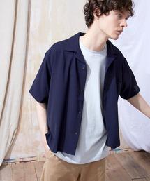 ブライトポプリンリラックスオープンカラーシャツ Poplin Open Collar Shirt(1/2 Sleeve)ネイビー