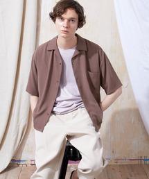 ブライトポプリンリラックスオープンカラーシャツ Poplin Open Collar Shirt(1/2 Sleeve)レッド系その他