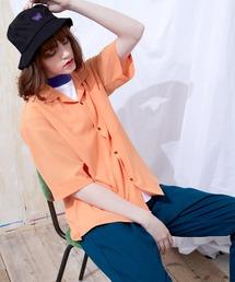 ブライトポプリンリラックスオープンカラーシャツ Poplin Open Collar Shirt(1/2 Sleeve)オレンジ系その他