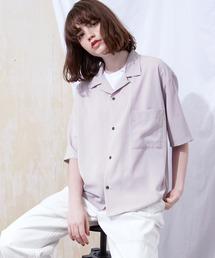 ブライト ポプリン リラックス ドレープ オープンカラー1/2 Sleeveシャツ EMMA CLOTHES 2021 SUMMERライラック