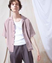 ブライトポプリンリラックスオープンカラーシャツ Poplin Open Collar Shirt(1/2 Sleeve)スモークピンク