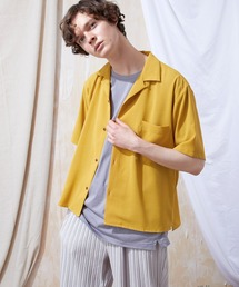 ブライトポプリンリラックスオープンカラーシャツ Poplin Open Collar Shirt(1/2 Sleeve)イエロー