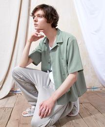 ブライトポプリンリラックスオープンカラーシャツ Poplin Open Collar Shirt(1/2 Sleeve)ライトグリーン