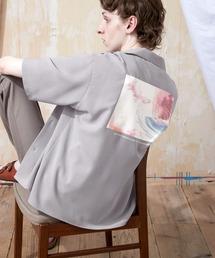 ブライト ポプリン リラックス ドレープ オープンカラー1/2 Sleeveシャツ EMMA CLOTHES 2021 SUMMERグレー系その他2