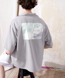 ブライト ポプリン リラックス ドレープ オープンカラー1/2 Sleeveシャツ EMMA CLOTHES 2021 SUMMERグレー系その他3
