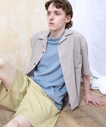 ブライトポプリンリラックスオープンカラーシャツ Poplin Open Collar Shirt(1/2 Sleeve)ライトグレー