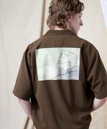 ブライト ポプリン リラックス ドレープ オープンカラー1/2 Sleeveシャツ EMMA CLOTHES 2021 SUMMERブラウン系その他2
