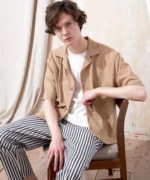 ブライト ポプリン リラックス ドレープ オープンカラー1/2 Sleeveシャツ EMMA CLOTHES 2021 SUMMERベージュ系その他4