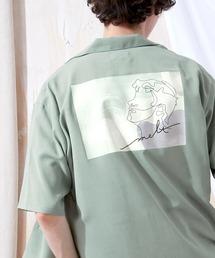ブライト ポプリン リラックス ドレープ オープンカラー1/2 Sleeveシャツ EMMA CLOTHES 2021 SUMMERグリーン系その他2