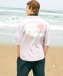 ブライト ポプリン リラックス ドレープ オープンカラー1/2 Sleeveシャツ EMMA CLOTHES 2021 SUMMERパープル系その他2