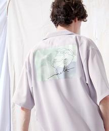 ブライト ポプリン リラックス ドレープ オープンカラー1/2 Sleeveシャツ EMMA CLOTHES 2021 SUMMERパープル系その他3