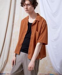 ブライトポプリンリラックスオープンカラーシャツ Poplin Open Collar Shirt(1/2 Sleeve)テラコッタ