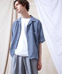 ブライトポプリンリラックスオープンカラーシャツ Poplin Open Collar Shirt(1/2 Sleeve)ライトブルー