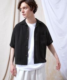 ブライトポプリンリラックスオープンカラーシャツ Poplin Open Collar Shirt(1/2 Sleeve)ブラック