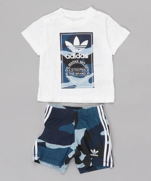 adidas(アディダス)の「カモフラージュ Tシャツ セットアップ [Camouflage Tee Set] アディダスオリジナルス(キッズ/子供用)(ジャージ)」 ホワイト×ブルー
