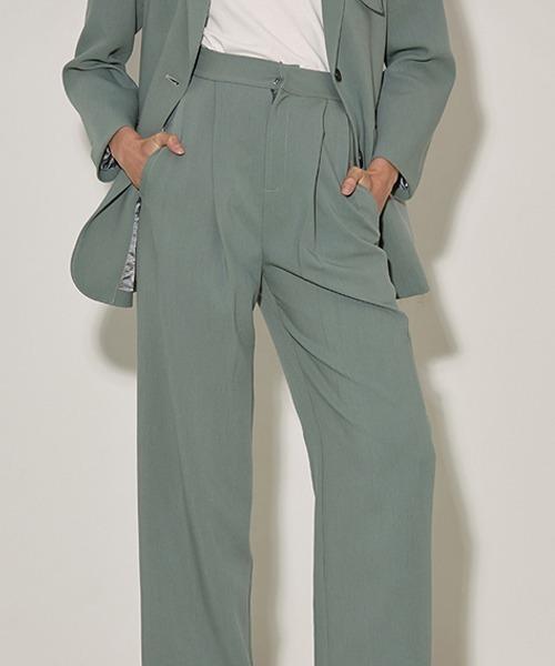 【UNSPOKEN】ワイドシルエット タック スラックス グリーン パンツ FAZ20060