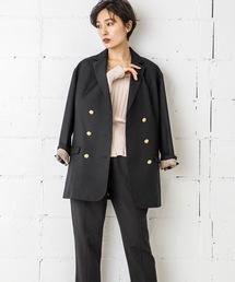 ダブルミディジャケット(オーバーサイズ紺ブレ)ブラック