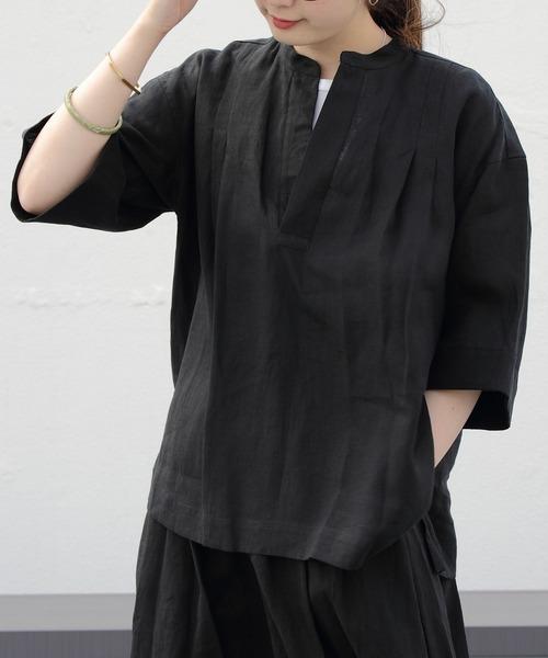 LE GLAZIK / ル グラジック スキッパーブラウス LINEN CLOTH BLOUSE JL-3803