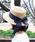 MODE ROBE(モードローブ)の「ロングリボンストローハット カンカン帽 帽子(ハット)」|ネイビー
