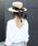 MODE ROBE(モードローブ)の「ロングリボンストローハット カンカン帽 帽子(ハット)」|ブラック