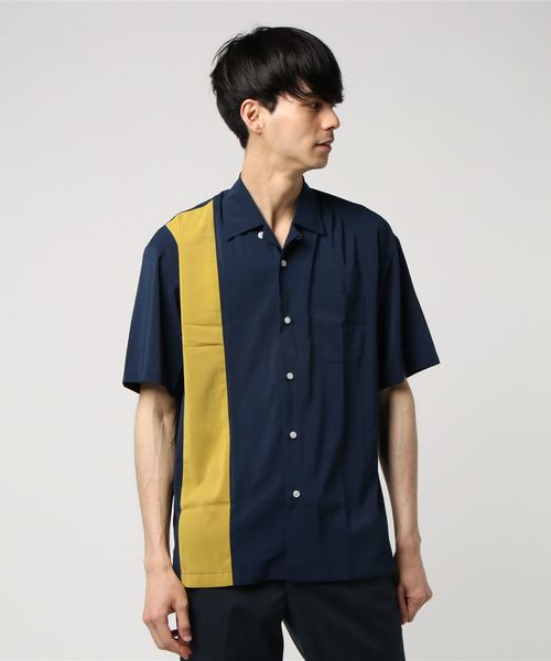 VIBGYOR Select/ シルクポリ切替オープンカラーシャツ