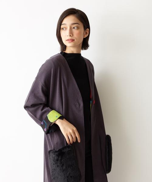 【オリジナルテキスタイル】ファー付ロングカーディガン