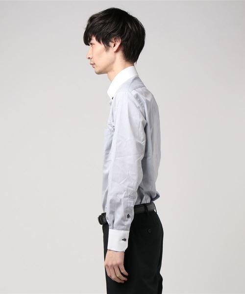 レノマ オム/renoma HOMME 形態安定ストライプ柄クレリックボタンダウンビジネスドレス長袖シャツ(グレー)