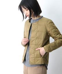 【 TAION / タイオン 】クルーネックフロントボタンダウンジャケット  TAION-W104‥ベージュ