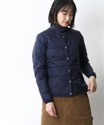 【 TAION / タイオン 】クルーネックフロントボタンダウンジャケット  TAION-W104‥ネイビー