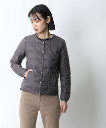 【 TAION / タイオン 】クルーネックフロントボタンダウンジャケット  TAION-W104‥グレー