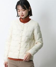 【 TAION / タイオン 】クルーネックフロントボタンダウンジャケット  TAION-W104‥オフホワイト