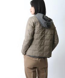 【 TAION / タイオン 】クルーネックフロントボタンダウンジャケット  TAION-W104‥カーキ