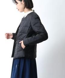 【 TAION / タイオン 】クルーネックフロントボタンダウンジャケット  TAION-W104‥ブラック