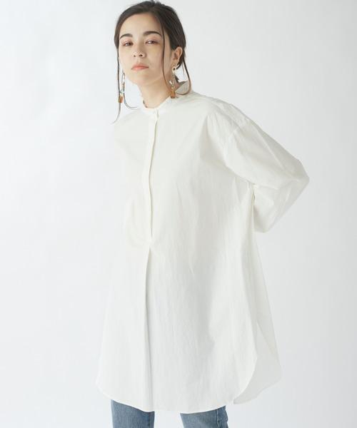 【CLOCHE】バックスリットバンドカラーシャツ