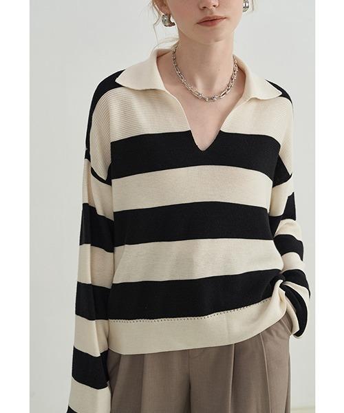 【Fano Studios】【2021AW】Polo collar striped sweater FX21S235