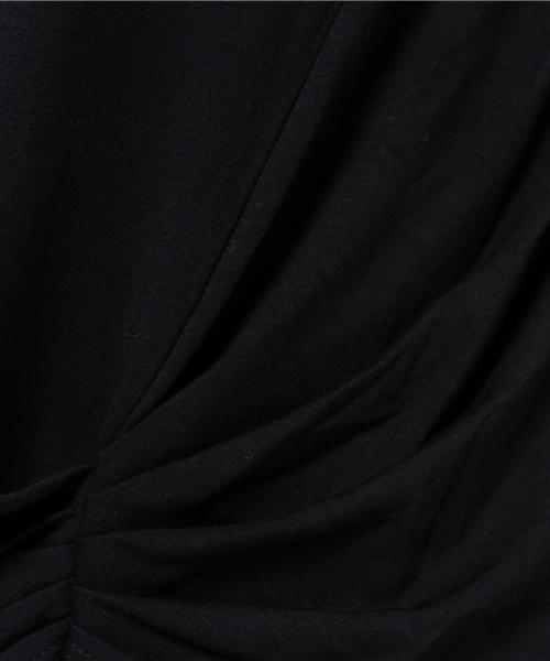 裾サイドタッククルーネック長袖プルオーバーカットソー