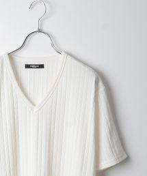 MORGAN HOMME(モルガンオム)のストライプケーブルニットソー(Tシャツ/カットソー)