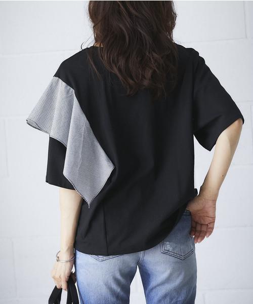 ストライプフリルTシャツ