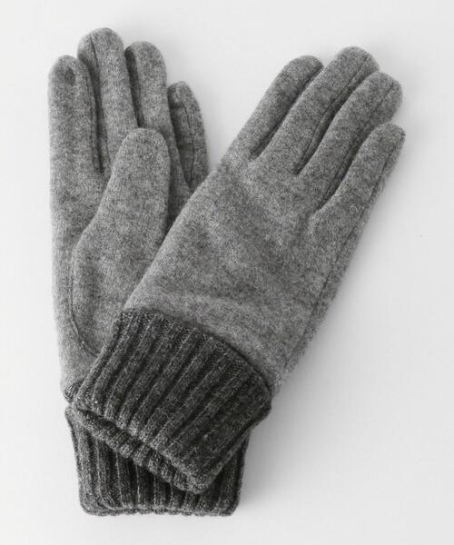 BEAUTY&YOUTH UNITED ARROWS(ビューティアンドユースユナイテッドアローズ)の「BY ジャージリブシンプルグローブ -スマートフォン対応-(手袋)」 グレー