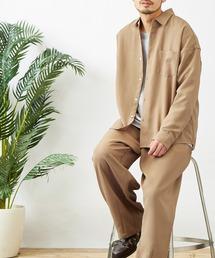 【セットアップ】テックリネン オーバーサイズ L/Sレギュラーカラーシャツ&タックバルーンワイドパンツベージュ