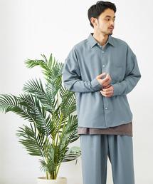 【セットアップ】テックリネン オーバーサイズ L/Sレギュラーカラーシャツ&タックバルーンワイドパンツブルー系その他