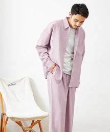 【セットアップ】テックリネン オーバーサイズ L/Sレギュラーカラーシャツ&タックバルーンワイドパンツパープル系その他