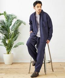【セットアップ】テックリネン オーバーサイズ L/Sレギュラーカラーシャツ&タックバルーンワイドパンツネイビー