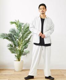 【セットアップ】テックリネン オーバーサイズ L/Sレギュラーカラーシャツ&タックバルーンワイドパンツホワイト